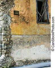 Ruined corner wall in Koroni, Greece