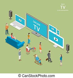 Streaming TV isometric flat vector illustration. People...