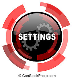 settings red modern web icon