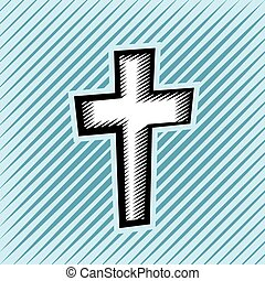 Cross Hatch Scratchboard Christian Cross - An illustration...