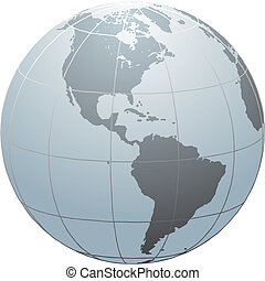 Globe_SN_America - Hand drawn vector globe with South and...