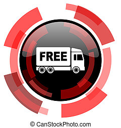 free delivery red modern web icon