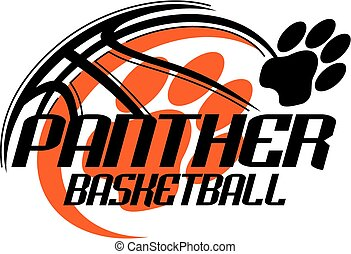 panther basketball team design with paw print for school,...