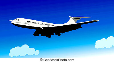 Aeroplane - Illustration of an aeroplane in flying
