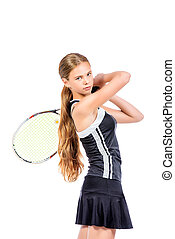 tennis player - Portrait of a girl tennis player in motion....