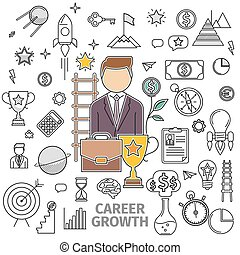 Concept Career Growth - Line art flat concept of Career...