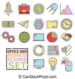 d Icons office - Colored icons with flat outer contour of...