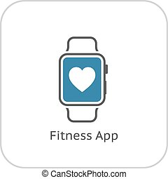 Fitness App Icon. Flat Design.