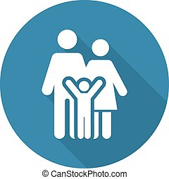 Family Support Icon. Flat Design.