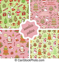 christmas pattern 2 - Set of christmas vector seamless...