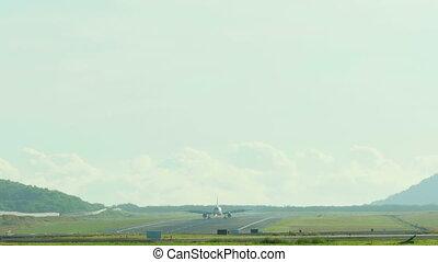 Airbus 320 braking after landing in Phuket airport