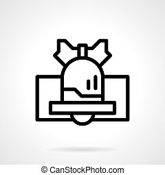 Black line handbell vector icon - Christmas bell with bow....