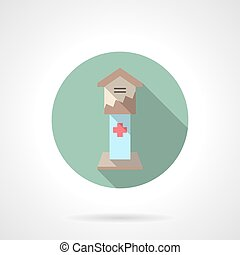 Health care fundraising flat color vector icon - Donation...
