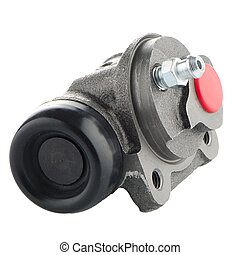 Car cylinder brake drum on white background.