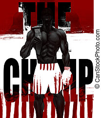 Muscular boxer standing. - Illustration of a muscular black...