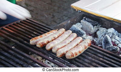 Bavarian sausages prepared on the grill grate - Appetizing...