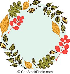 Autumn elements round.eps - Autumn leaves on a round blue...