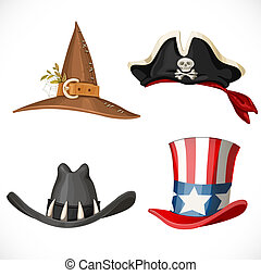 Set of hats for the carnival costumes -  Uncle Sam hat, witch hat, pirate hat with bandanna and cowboy hat isolated on a white background
