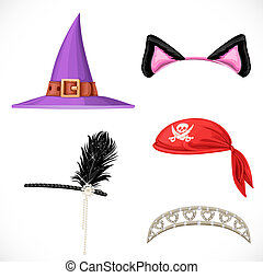 Set of hats for the carnival costumes -  Witch hat, pirate red bandanna, tiara for princess and cat ears on the hoop  isolated on a white background