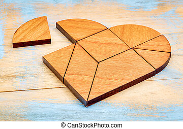 wooden heart tangram - heart version of tangram, a...