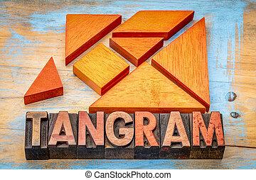 madeira, tangram, Quebra-cabeça,