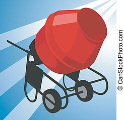 Cement mixer - Illustration of a cement mixing machine