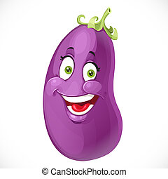 Cartoon smiling eggplant isolated on white background