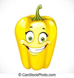 Cartoon smiling yellow sweet pepper isolated on white...