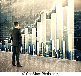 Businessman looking at big screen with business graph