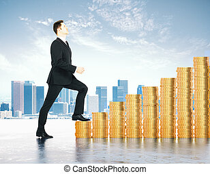 Increase in profits concept with businessman climbs the...