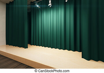 Empty stage with green scenes and spotlights