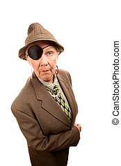 Senior woman in drag with eye patch - Eccentric senior woman...