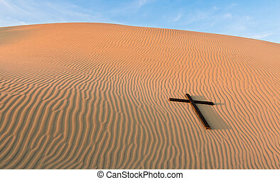 Waves of sand Black Cross - Sand dune with a black cross...