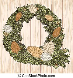 Christmas card with pine cones wreath on wooden background...