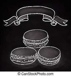 Set of isolated doodle macaroon. Chalkboard background with ribbon. Sketch macaroon. Macaroons handmade. Objects for design. French dessert. Cute macaroon with doodles. Vector illustration.