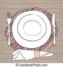 Informal vector table setting. Tableware and eating utensils are set at the table for serving. Simply style place setting or table setting or laying a table) are for casual dining. Wooden table background