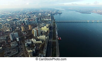 Flying Over the City in the Fall Dnipropetrovsk City Near...
