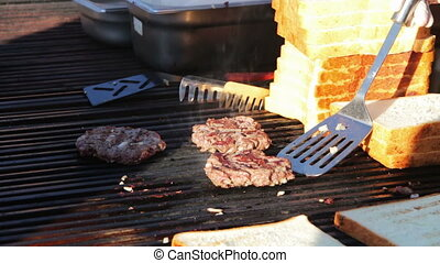 Meat steak prepared on the grill - Appetizing steak cook...