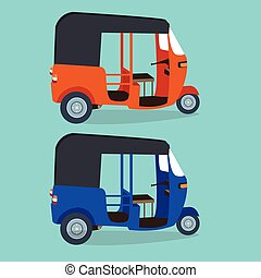 bajaj bajai indonesia transportaion drawing flat vector...