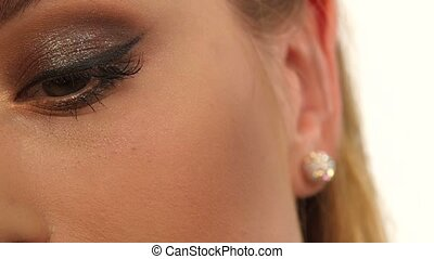 Make-up girl, woman teenager face with make up brushes and a...