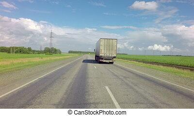 Truck on the route of Altai Krai. - Altai Republic, Russia -...