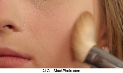 Beautiful woman face Perfect makeup Beauty fashion close up...