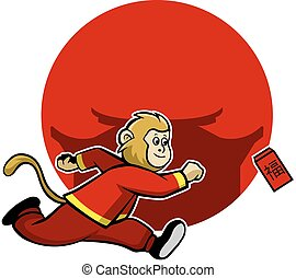 Monkey Pursue Lucky Red Envelope - Vector illustration for...