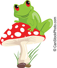 frog - Illustration of a green frog sitting on a red...