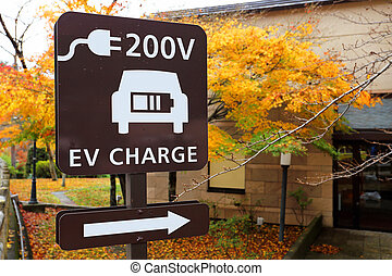 EV Charging Station signboard with the electro car...