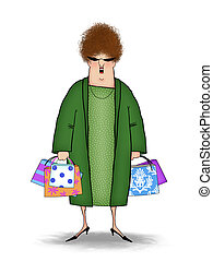 Funny Shopper With Shopping Bags - Funny cartoon of a happy...