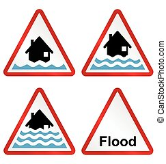 Flood warning sign collection - Flood alert flood warning...