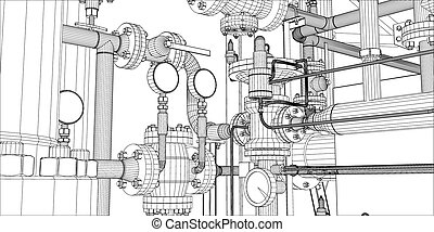 Illustration of equipment for heating system on white...
