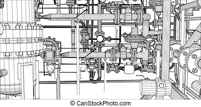 Illustration of equipment for heating system with pipes