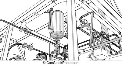 Illustration of equipment for heating system with pipes,...